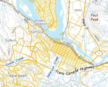 Map Of Canada Showing Kamloops.Place Names Kamloops